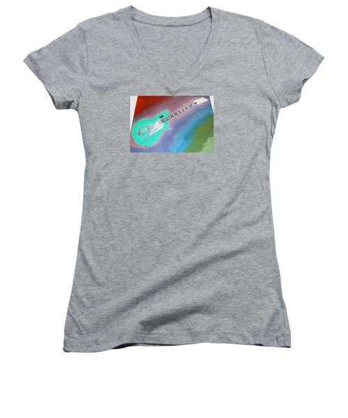 Green Guitar Women's V-Neck T-Shirt (Junior Cut) by Magdalena Frohnsdorff