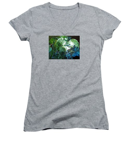 Women's V-Neck T-Shirt (Junior Cut) featuring the painting Green Leaves Study by LaVonne Hand