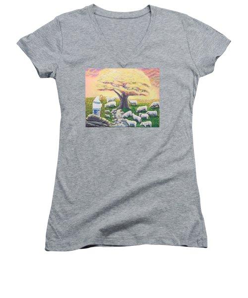 Green Pasture  Women's V-Neck T-Shirt