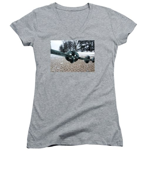 Women's V-Neck T-Shirt (Junior Cut) featuring the photograph Green Patina by Michael Porchik