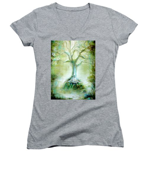 Green Skeleton Meditation Women's V-Neck (Athletic Fit)