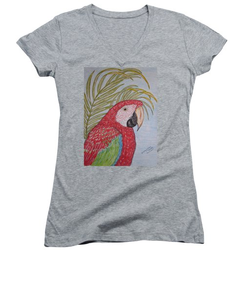 Women's V-Neck T-Shirt (Junior Cut) featuring the painting Green Winged Macaw by Kathy Marrs Chandler