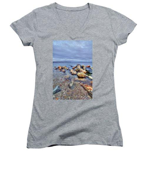 Women's V-Neck T-Shirt (Junior Cut) featuring the photograph Greenwich Bay by Alex Grichenko