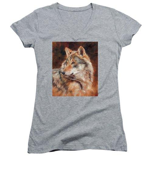 Grey Wolf Portrait Women's V-Neck