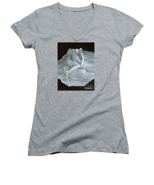 Women's V-Neck T-Shirt (Junior Cut) featuring the painting Greyish Revelation by Fei A