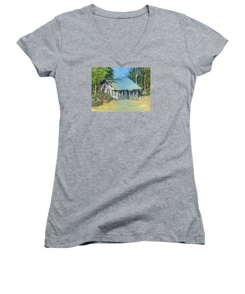 Women's V-Neck T-Shirt (Junior Cut) featuring the painting Graynook by LeAnne Sowa