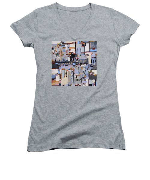 Gridlock Women's V-Neck T-Shirt (Junior Cut) by Regina Valluzzi
