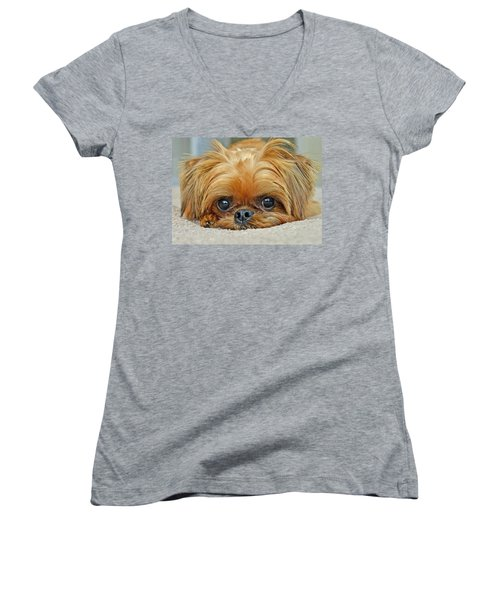 Women's V-Neck T-Shirt (Junior Cut) featuring the photograph Griff by Lisa Phillips