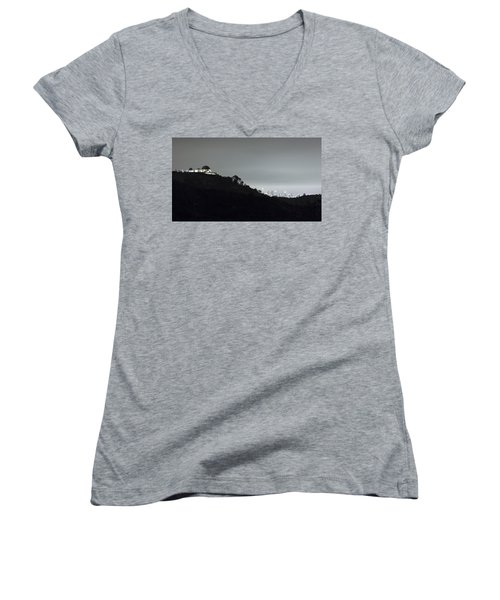 Griffith Park Observatory And Los Angeles Skyline At Night Women's V-Neck (Athletic Fit)