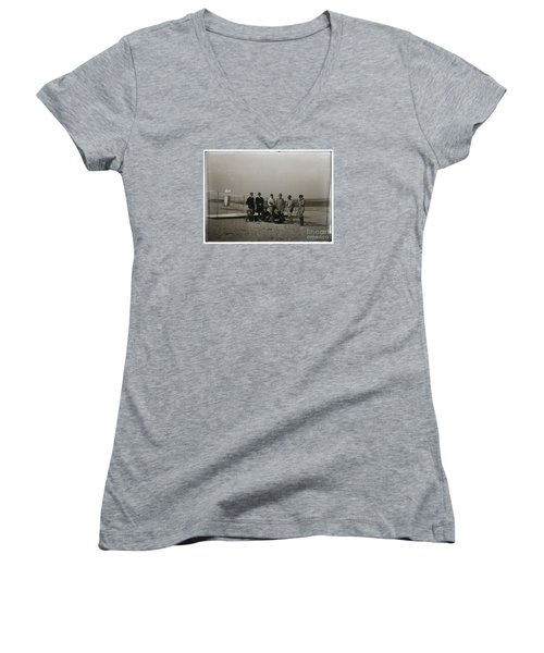 The Wright Brothers Group Portrait In Front Of Glider At Kill Devil Hill Women's V-Neck T-Shirt (Junior Cut) by R Muirhead Art