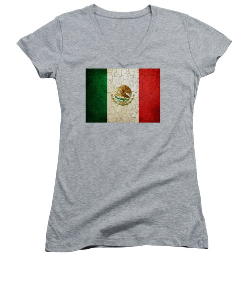 Grunge Mexico Flag Women's V-Neck T-Shirt
