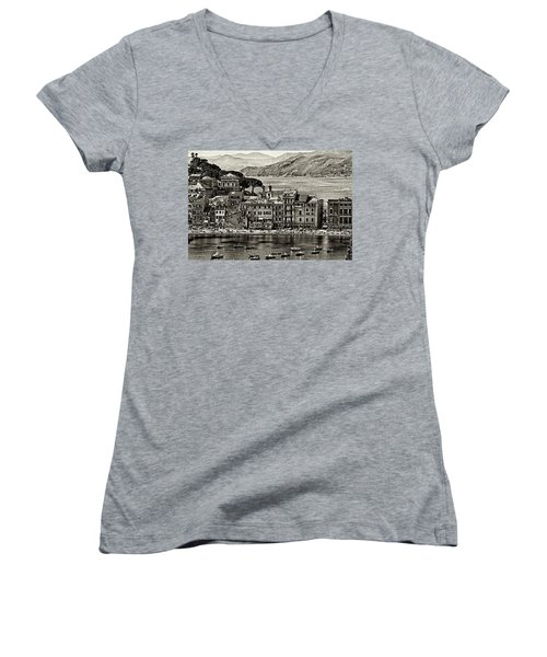 Grunge Seascape Women's V-Neck