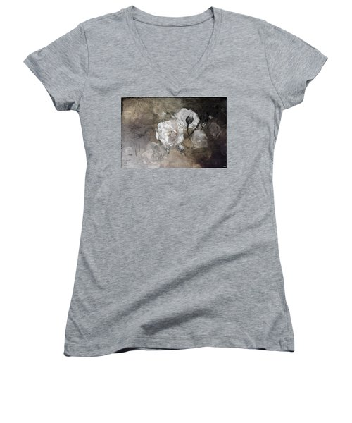 Grunge White Rose Women's V-Neck T-Shirt