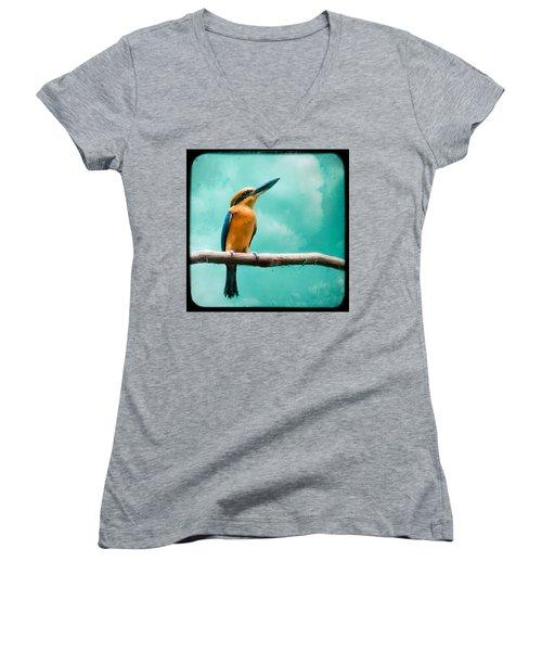 Guam Kingfisher - Exotic Birds Women's V-Neck