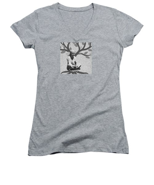 Women's V-Neck T-Shirt (Junior Cut) featuring the photograph Guardian Of The Tree Of Life by I'ina Van Lawick