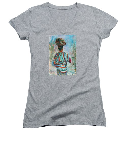 Women's V-Neck T-Shirt (Junior Cut) featuring the painting Guatemala Impression I by Xueling Zou