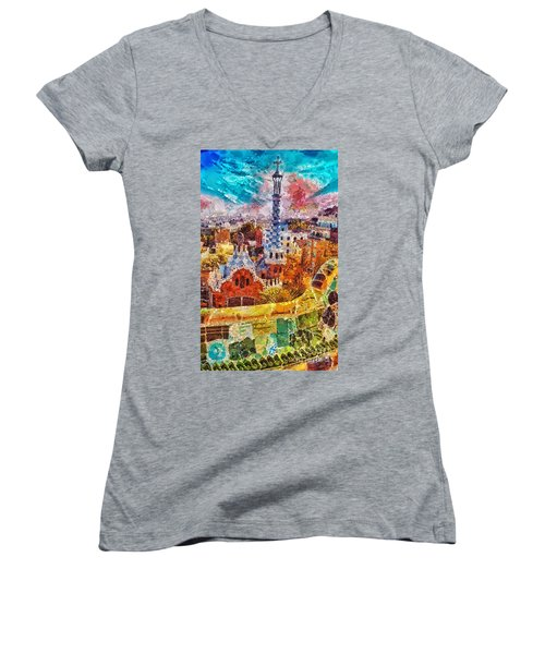 Guell Park Women's V-Neck T-Shirt (Junior Cut) by Mo T