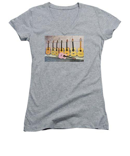 Women's V-Neck T-Shirt (Junior Cut) featuring the digital art Guitars by Erika Weber