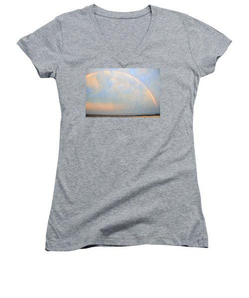 Women's V-Neck T-Shirt (Junior Cut) featuring the photograph Gulf Coast Rainbow by Charlotte Schafer