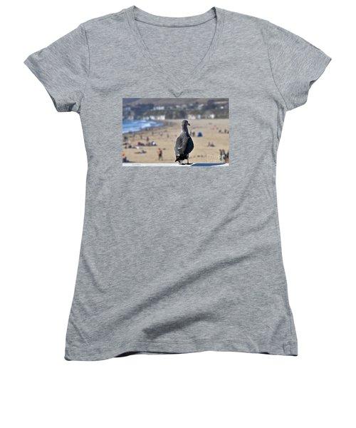 Gull Watching Beach Visitors Women's V-Neck T-Shirt (Junior Cut) by Susan Wiedmann