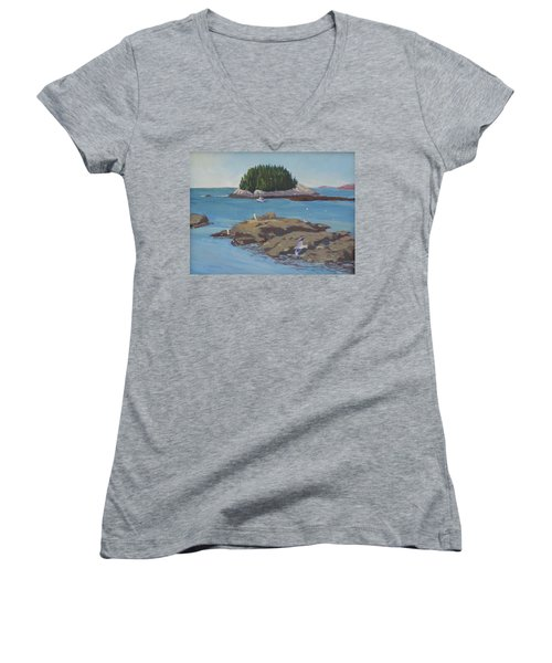 Gulls At Five Islands Women's V-Neck T-Shirt (Junior Cut)