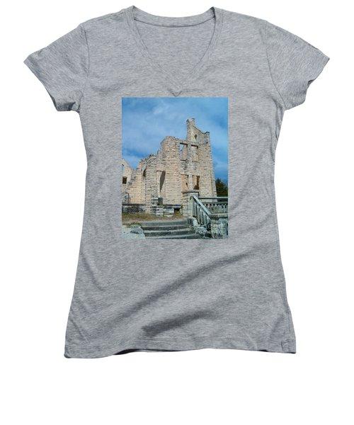 Women's V-Neck T-Shirt (Junior Cut) featuring the photograph Haha Tonka Castle 2 by Sara  Raber