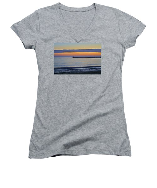 Half Moon Bay Under The Moon At Sunset Women's V-Neck