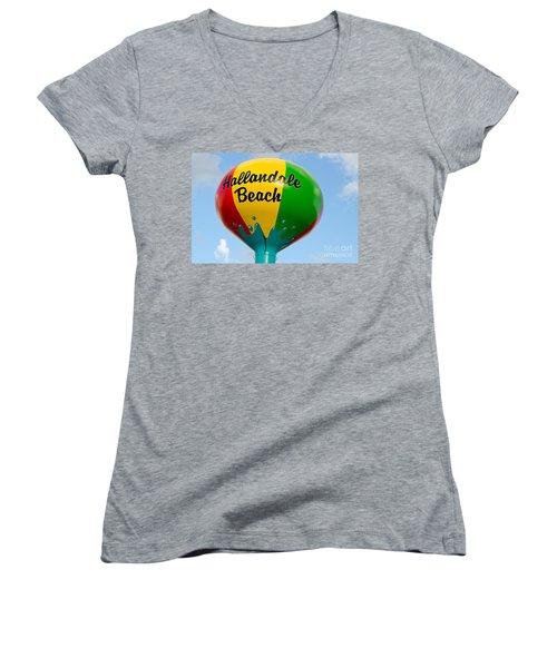 Hallendale Beach Water Tower Women's V-Neck T-Shirt