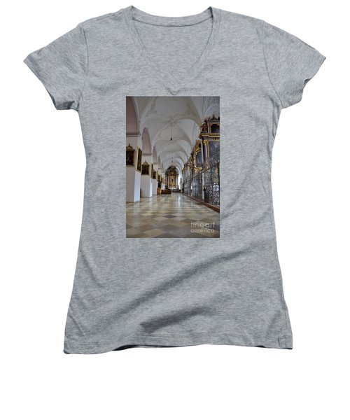 Women's V-Neck T-Shirt (Junior Cut) featuring the photograph Hallway Of A Church Munich Germany by Imran Ahmed
