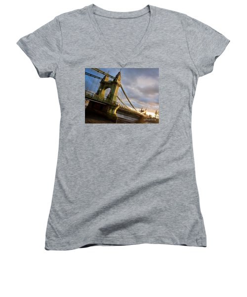 Women's V-Neck T-Shirt (Junior Cut) featuring the photograph Hammersmith Bridge In London by Peta Thames