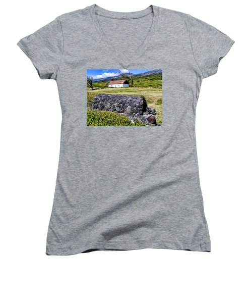 Women's V-Neck T-Shirt (Junior Cut) featuring the photograph Hana Church 3 by Dawn Eshelman