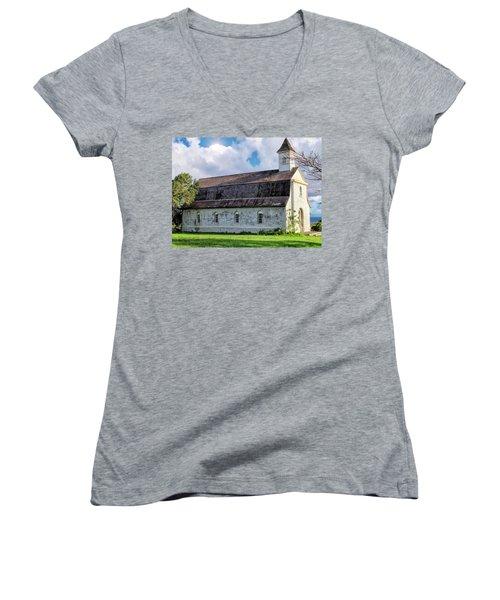 Women's V-Neck T-Shirt (Junior Cut) featuring the photograph Hana Church 4 by Dawn Eshelman