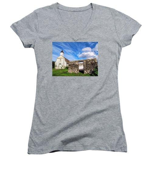 Women's V-Neck T-Shirt (Junior Cut) featuring the photograph Hana Church 8 by Dawn Eshelman