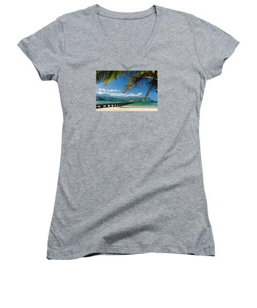 Hanalei Pier And Beach Women's V-Neck T-Shirt (Junior Cut) by M Swiet Productions