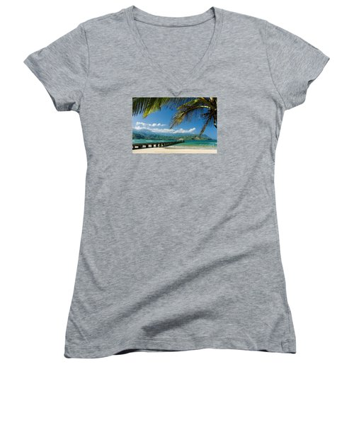 Hanalei Pier And Beach Women's V-Neck (Athletic Fit)