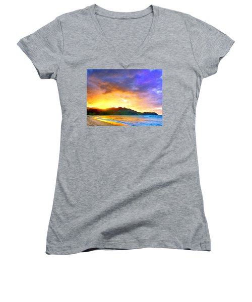 Hanalei Sunset Women's V-Neck