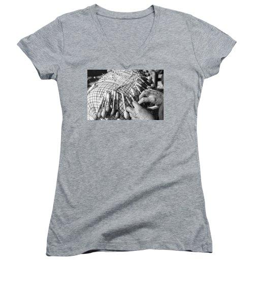 Handmade Lace Work Women's V-Neck T-Shirt