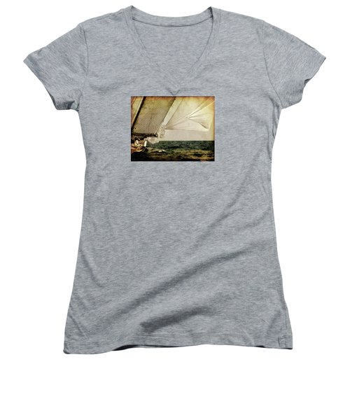 Women's V-Neck T-Shirt (Junior Cut) featuring the photograph Hanged On Wind In A Mediterranean Vintage Tall Ship Race  by Pedro Cardona