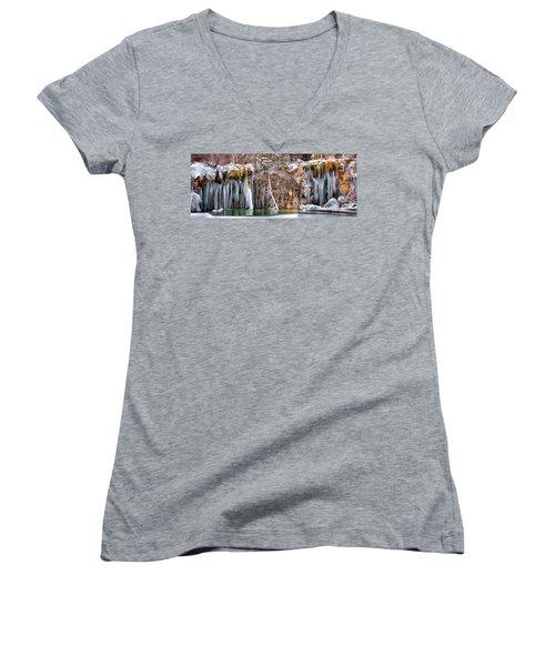 Hanging Lake Women's V-Neck T-Shirt (Junior Cut)