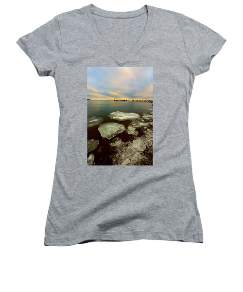 Women's V-Neck T-Shirt (Junior Cut) featuring the photograph Hanging On by Amanda Stadther