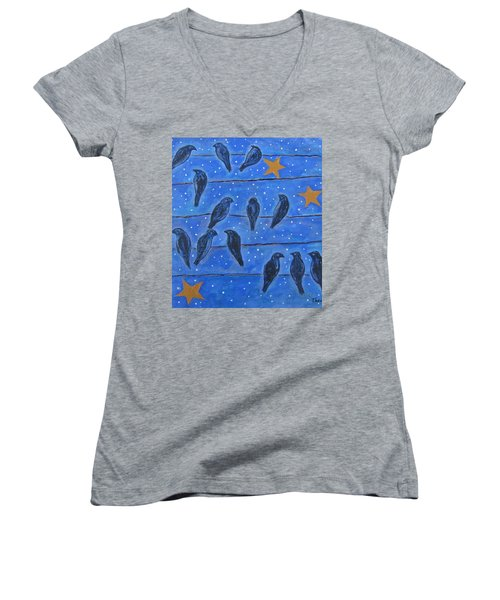 Hanging Out At Night Women's V-Neck T-Shirt (Junior Cut) by Suzanne Theis