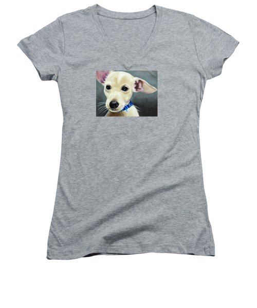 Women's V-Neck T-Shirt (Junior Cut) featuring the painting Hank by Jeanne Fischer