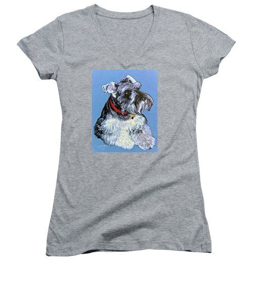 Women's V-Neck T-Shirt (Junior Cut) featuring the painting Hans The Schnauzer Original Painting Forsale by Bob and Nadine Johnston