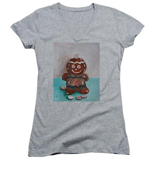 Happy Gingerbread Man Women's V-Neck T-Shirt (Junior Cut) by Victoria Lakes