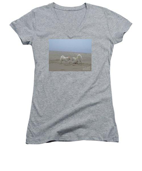 Happy Girls Beach Side Women's V-Neck T-Shirt (Junior Cut) by Fiona Kennard