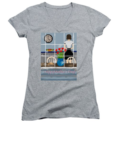 Women's V-Neck T-Shirt (Junior Cut) featuring the digital art Happy Homemaker by Christine Fournier