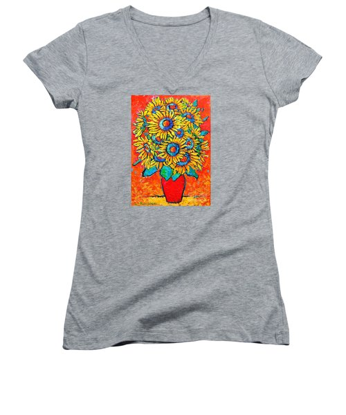 Happy Sunflowers Women's V-Neck T-Shirt (Junior Cut) by Ana Maria Edulescu