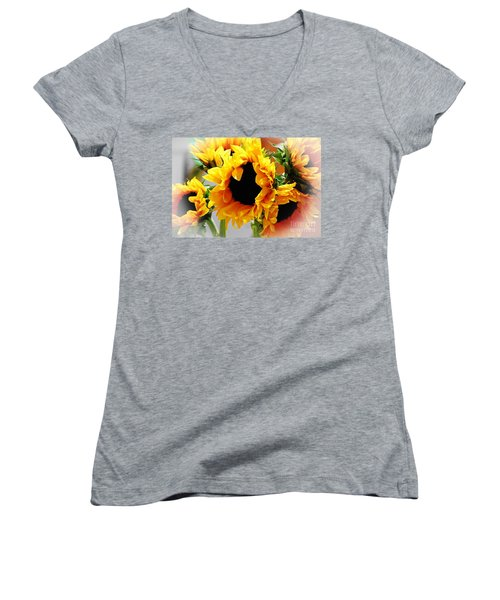 Happy Sunflowers Women's V-Neck (Athletic Fit)