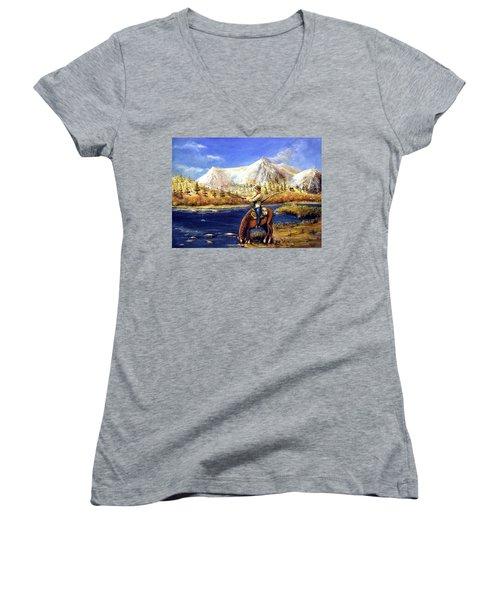 Women's V-Neck T-Shirt (Junior Cut) featuring the painting Happy Trails by Bernadette Krupa