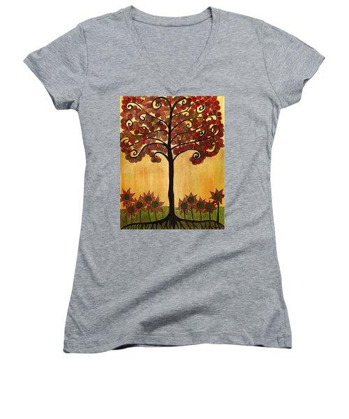 Happy Tree In Red Women's V-Neck